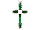 White Cultured Freshwater Pearl Sterling Silver Cross Pendant With Chain 2.81ctw