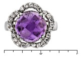 Purple African Amethyst And White Zircon Sterling Silver Ring 6.66ctw