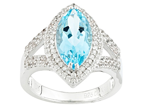 Sky Blue Topaz Sterling Silver Ring 3.45ctw