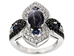 Blue Star Sapphire Sterling Silver Ring 2.72ctw