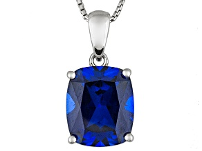 Blue Lab Created Sapphire Sterling Silver Pendant With Chain 7.00ct