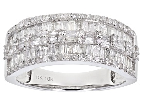 White Diamond 10K White Gold Ring 1.18ctw