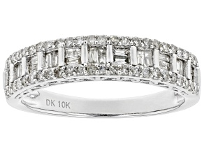 White Diamond 10K White Gold Ring 0.46ctw