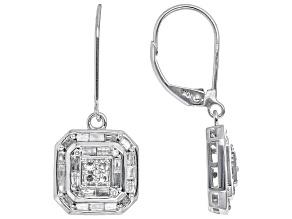 White Diamond 10K White Gold Earrings 0.75ctw