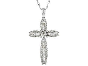 White Diamond 10K White Gold Pendant 0.77ctw