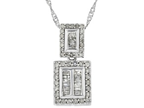 White Diamond 10K White Gold Pendant 0.56ctw