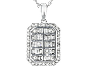 White Diamond 10K White Gold Pendant 0.76ctw