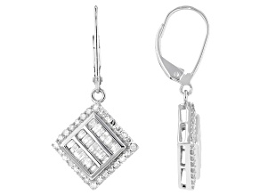 White Diamond 10K White Gold Dangle Earrings 1.00ctw