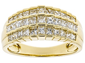White Diamond 10K Yellow Gold Ring 1.45ctw