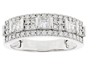 White Diamond 10K White Gold Ring 0.90ctw