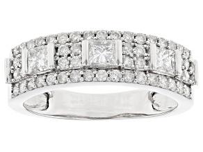 White Diamond 10K White Gold Ring 0.90ctw