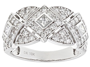 White Diamond 10K White Gold Ring 1.06ctw