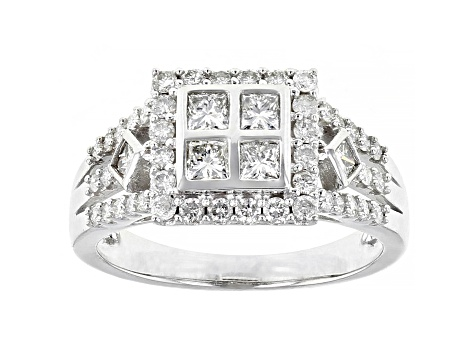 White Diamond 10K White Gold Ring With Two Matching Bands 1.78ctw