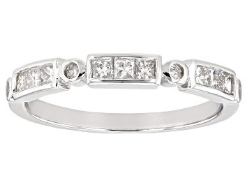 Picture of White Diamond 10K White Gold Band Ring 0.41ctw
