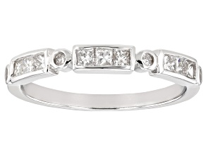 White Diamond 10K White Gold Band Ring 0.41ctw