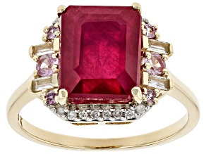 Red Ruby 10k Yellow Gold Ring 5.07ctw