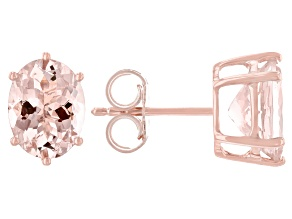 Pink Morganite 14K Rose Gold Stud Earrings 3.25ctw