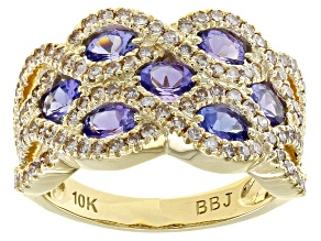 Oval Tanzanite With Candlelight Diamonds™ 10K Yellow Gold Ring 2.09ctw