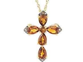 Orange Madeira Citrine  10K Yellow Gold Cross Pendant Chain 1.78ctw