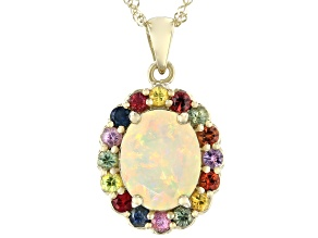 Multicolor Opal 10K Yellow Gold Pendant With Chain 2.16ctw