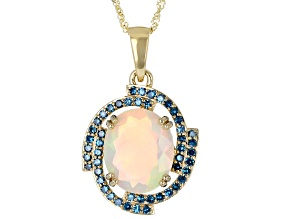 Multi Color Oval Ethiopian Opal 10K Yellow Gold Pendant With Chain 2.48ctw