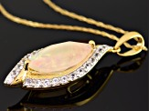 Multi Color Ethiopian Opal 10k Yellow Gold Pendant With Chain 2.02ctw.