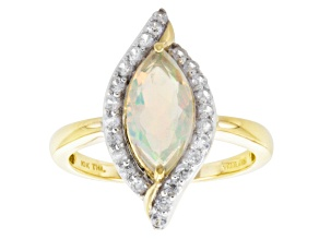 Multi Color Ethiopian Opal 10k Yellow Gold Ring 1.30ctw.