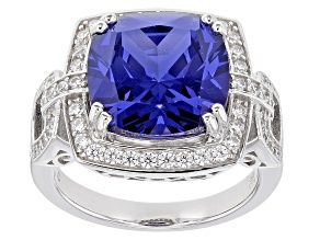 Blue And White Cubic Zirconia Rhodium Over Sterling Silver Ring 12.50ctw