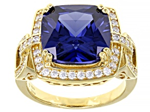 Blue And White Cubic Zirconia 18K Yellow Gold Over Sterling Silver Ring 12.50ctw