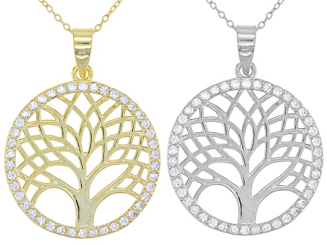 White Cubic Zirconia Rhodium And 18K Yellow Gold Over Silver Pendant With Chain Set of 2 1.25ctw