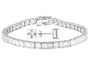 White Cubic Zirconia Rhodium Over Sterling Silver Tennis Bracelet And Earrings Set 26.62ctw