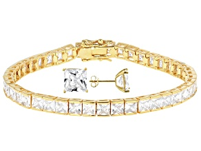 White Cubic Zirconia 18K Yellow Gold Over Sterling Silver Tennis Bracelet And Earrings Set 26.62ctw