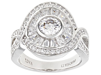 Picture of White Cubic Zirconia Rhodium Over Sterling Silver Ring 5.13ctw