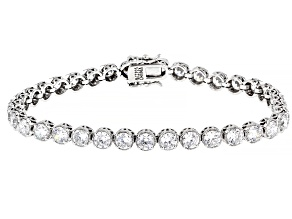 White Cubic Zirconia Rhodium Over Sterling Silver Tennis Bracelet 16.09ctw