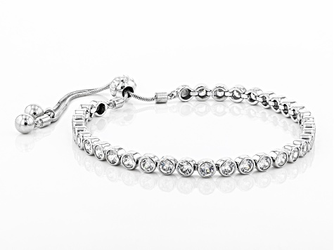 White Cubic Zirconia Rhodium Over Sterling Silver Adjustable Bracelet 10.66ctw