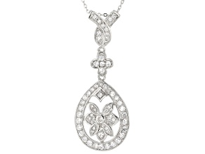 White Cubic Zirconia Rhodium Over Sterling Silver Pendant With Chain 1.28ctw