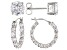 White Cubic Zirconia Rhodium Over Sterling Silver Hoop And Stud Earrings Set 10.00 ctw