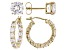 White Cubic Zirconia 18K Yellow Gold Over Sterling Silver Hoop And Stud Earrings Set 10.00ctw
