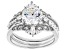 White Cubic Zirconia Rhodium Over Sterling Silver Ring With Bands 4.20ctw