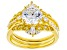 White Cubic Zirconia 18K Yellow Gold Over Sterling Silver Ring With Bands 4.20ctw