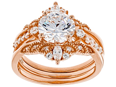 White Cubic Zirconia 18K Rose Gold Over Sterling Silver Ring With Bands 4.20ctw