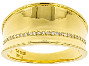 White Cubic Zirconia 18K Yellow Gold Over Sterling Silver Band Ring 0.25ctw