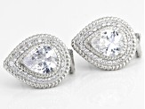 White Cubic Zirconia Rhodium Over Sterling Silver Earrings 9.25ctw