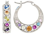 Multi Color Cubic Zirconia Rhodium Over Sterling Silver Earrings 9.00ctw