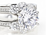 White Cubic Zirconia Rhodium Over Sterling Silver Ring With 2 Bands 9.40ctw
