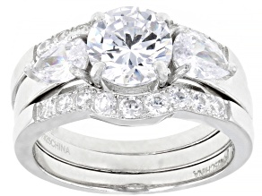 White Cubic Zirconia Rhodium Over Sterling Silver Ring With 2 Bands 4.13ctw