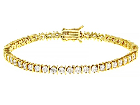 White Cubic Zirconia 18K Yellow Gold Over Sterling Silver Tennis Bracelet 9.30ctw