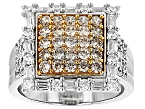 Champagne And White Cubic Zirconia Rhodium Over Sterling Silver Ring 2.49ctw