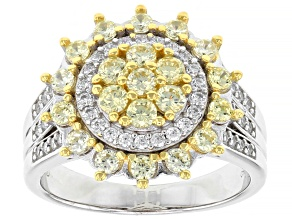 Yellow And White Cubic Zirconia Rhodium Over Sterling Silver Ring 1.12ctw