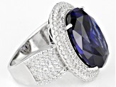 Blue And White Cubic Zirconia Rhodium Over Sterling Silver Ring 24.80ctw